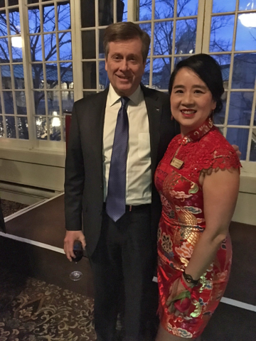 Ms. Lai-King Hum with Toronto Mayor John Tory