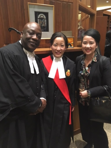 At swearing in of Justice Nishikawa and CABL representative Gordon Cudjoe