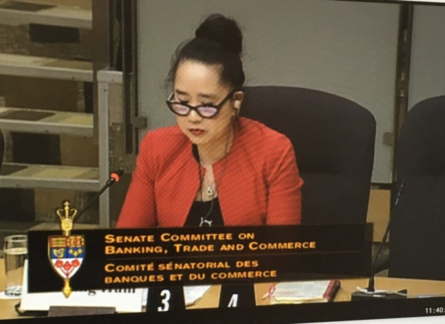 "Lai-King Hum, of Hum Employment Law Firm, presenting on International Trade and Employment Law Standards w.r.t. NAFTA to Standing Senate Committee on Banking, Trade and Commerce studying ""New and Emerging Issues for Canadian Importers and Exporters in North America and Global Markets"" Senate of Canada"